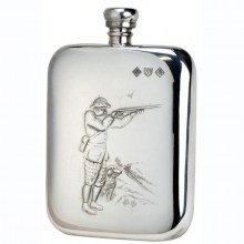 6oz Shooter & Dog Pewter Rounded Flask by Bisley