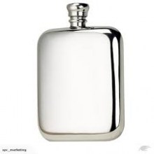 6oz Kidney Pewter Flask in Presentation Box by Bisley